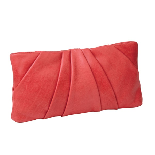 COM-PLEAT ME CLUTCH    Com-Pleat-Me Clutch features pleated detail on both sides, with zip fastening top. Use as a clutch or as a purse to match withCom-Pleat Me Hobo.  Hand crafted from soft European calf leather, it has a zip fastening top, inside zipped pockets and phone compartment, a designer plaque and lined in signature cream twill with purple printed flower pattern.