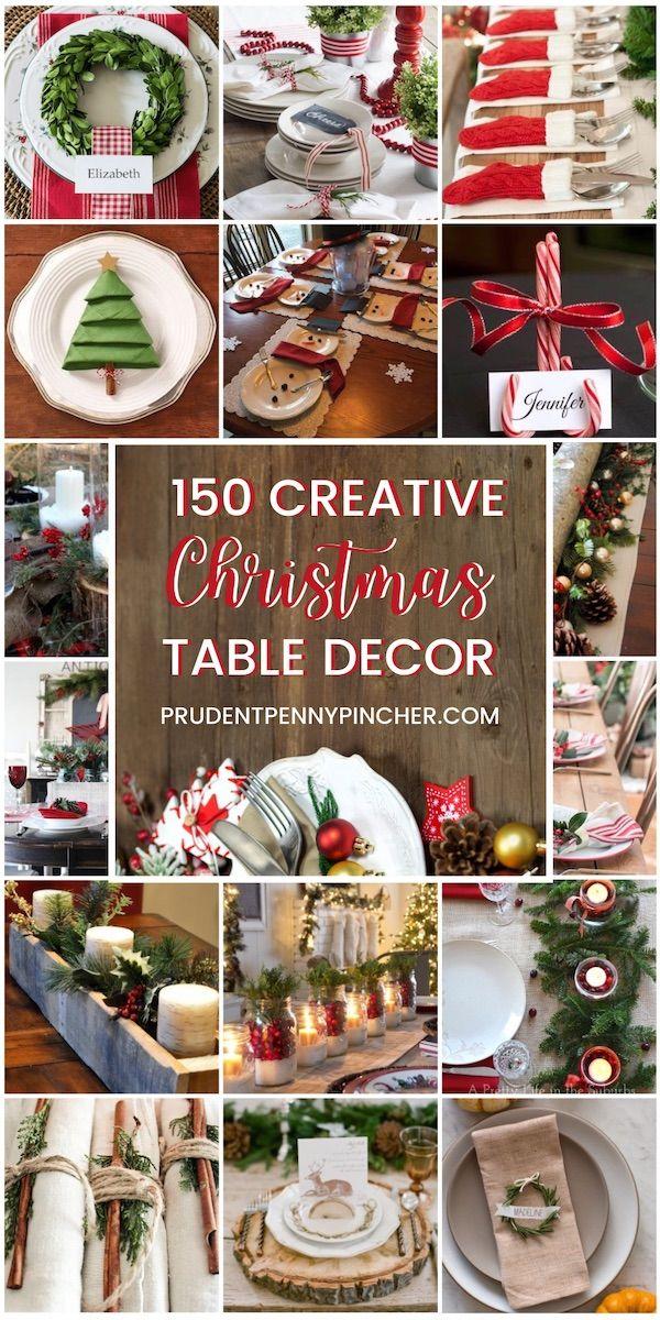 150 Creative Diy Christmas Table Decorations Christmas Party Table Diy Christmas Table Christmas Staircase Decor