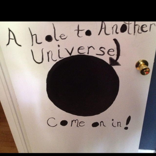 Max and Alex's door - chalkboard paint - so we can leave little messages for them<3