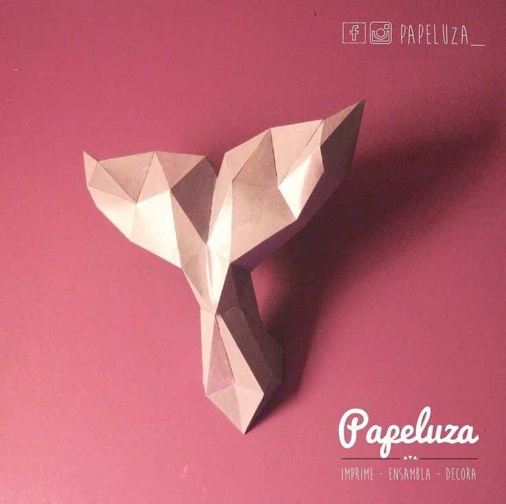 Whale tail - cola de ballena - papercraft - decoración de pared - low poly de PAPELUZA en Etsy
