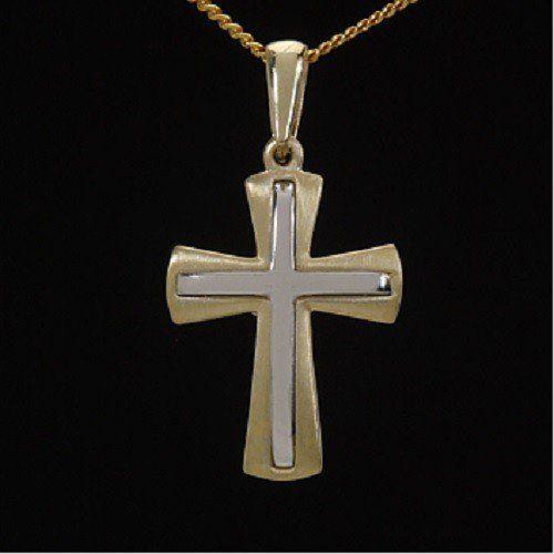 ASS 333 Gold Anhänger Kreuz Kreuzanhänger massiv Bicolor,Gelbgold,Weißgold | Your #1 Source for Jewelry and Accessories