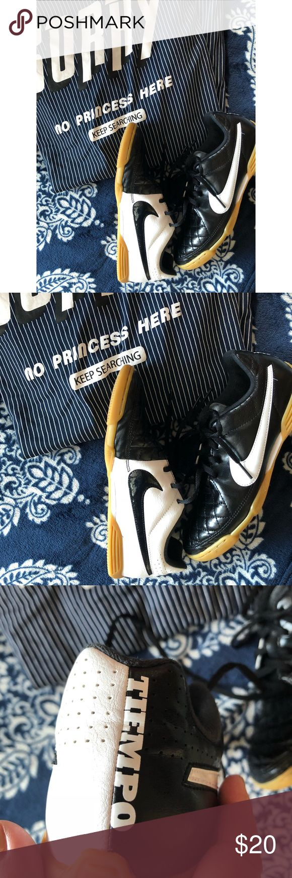 Nike Tiempo Indoor Soccer Shoes Cleat Free! Black and white quilted top soccer shoes with neutral rubber. I bought these brand new and they have been worn 5 times and never to play soccer! 😊 Youth 5.5 equivalent to a W 6.5 EUC Nike Shoes Sneakers