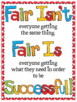 "If it is impossible to seem ""fair"" to students...#classroommanagement Rule #3.3: Keep Consequences Private: Don't immediately yell a consequence across the room: Follow the #leastinvasiveapproach continuum: -Pause -Make eye contact -Give a whole class anonymous correction/positive reminder. -Tap desk -Say student's name in non-aggressive tone -THEN walk over to privately tell student to change behavior or there will be a consequence. - THEN give consequence privately."