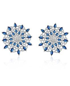 brinco luxuoso safira com zirconias cristais e banho de rodio semi joias da moda