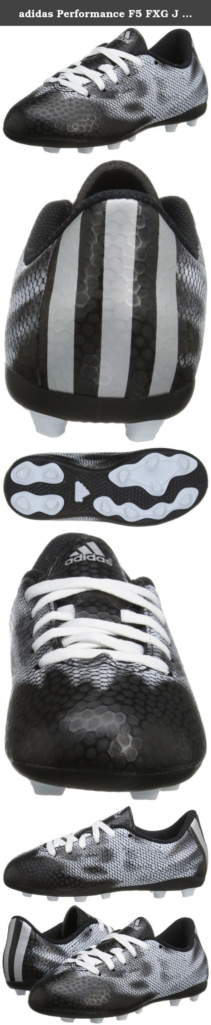 adidas Performance F5 FXG J Firm-Ground Soccer Cleat (Little Kid/Big Kid), Core Black/Metallic/Silver/Metallic/Silver, 5.5 M US Big Kid. Printed synthetic upper. Lace-up closure. High, supportive collar. Reinforced toe prevents blowouts. Textile lining provides all-game comfort. Die-cut EVA sock liner inlays. Cushioning studs allow for quick rebound. Flexible ground tooling at outsole.