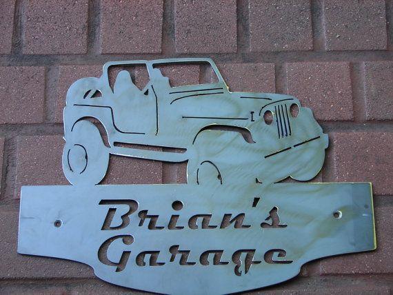 Jeep cj wrangler address plaque home decor wall for Location plaque garage