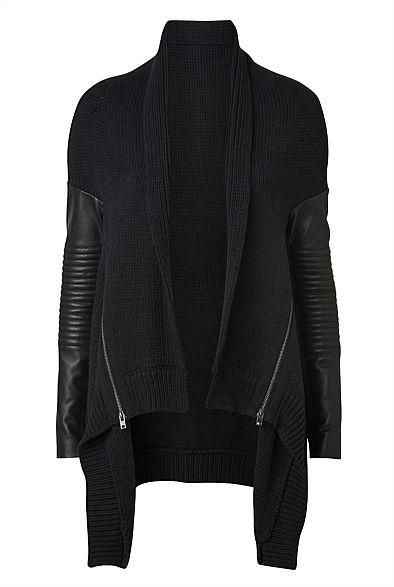 Witchery Leather Sleeve Biker Cardigan $205 WITCHERY.COM.AU