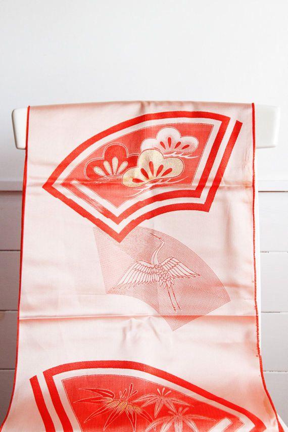 Peach Crane Obi Japanese Vintage Kimono FabricKimono by CJSTonbo