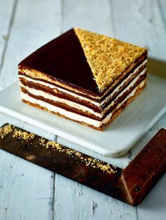 Hazelnut chocolate opera cake recipe from B.I.Y. Bake It Yourself by Richard Burr | Cooked