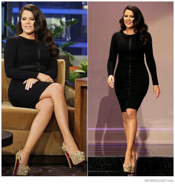 shoes replicas - Khloe Kardashian wearing gold Christian Louboutin Highness Strass ...