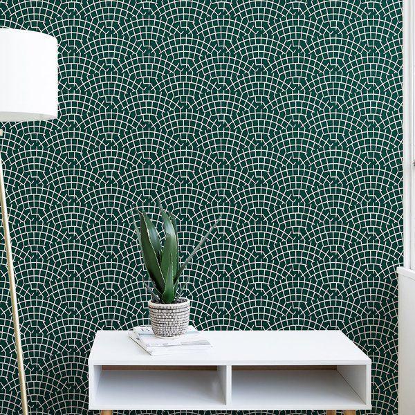 Holli Zollinger Mosaic Scallop Marine Matte Peel And Stick Wallpaper Panel Peel And Stick Wallpaper Wallpaper Panels Silver Wallpaper Designs