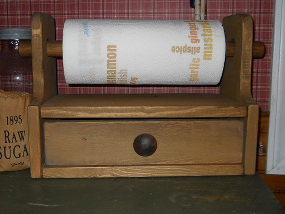 Primitive Farmhouse Paper Towel Holder in perfectly prim mustard, perfect for any prim decor. Working drawer with beadboard interior.