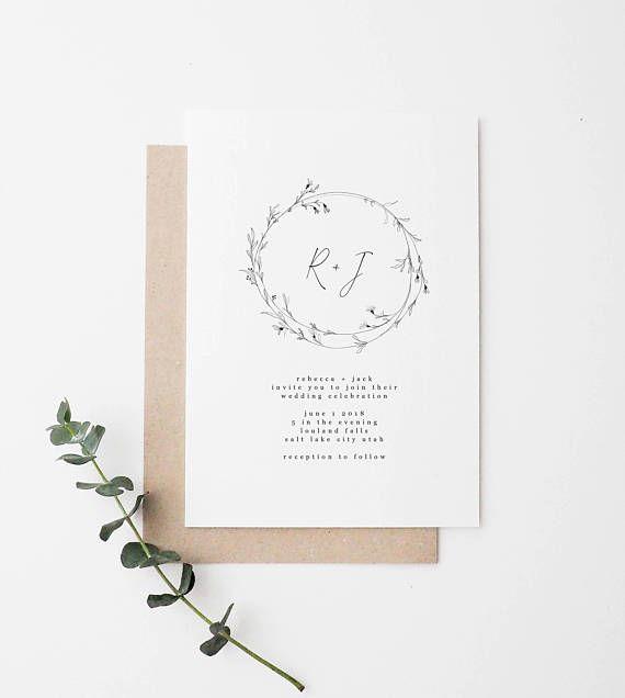 Simple Wedding Invitation Minimalist Wedding Invitation