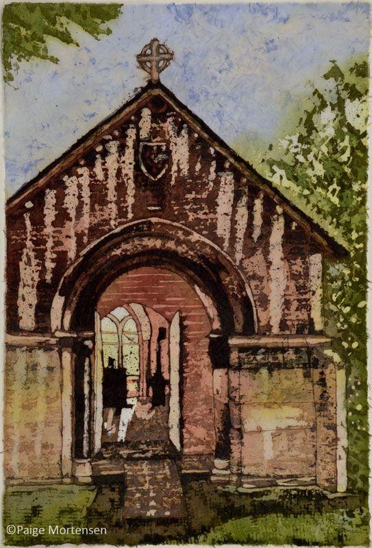 "Welcome ©Paige Mortensen Watercolour Batik 12x18"" SOLD to Mann Art Gallery's Permanent Collection"