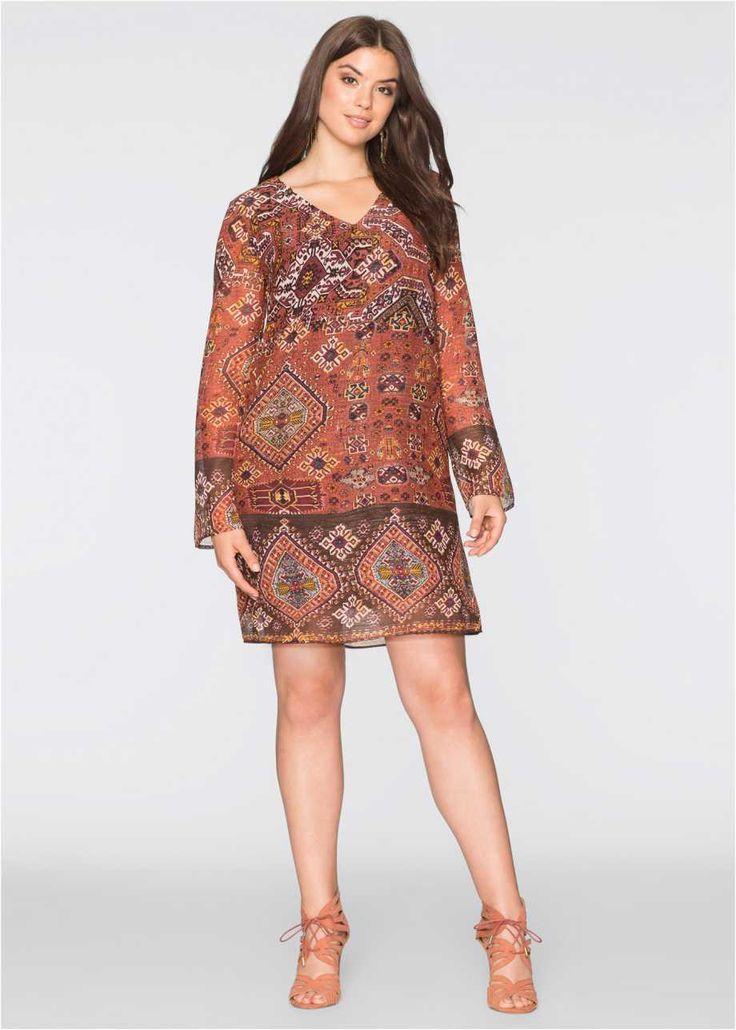 Bohem Elbise, BODYFLIRT, tarçın rengi/siyah/kahverengi desenli