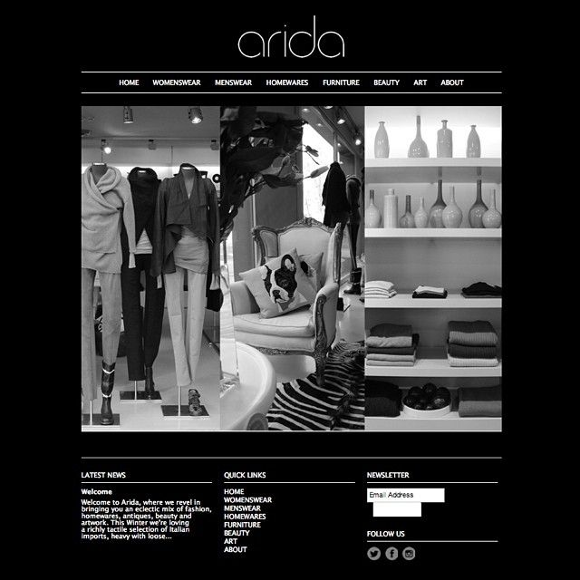 We've had some work done! Head over to www.arida.com.au to see out brand new website and shop an edited range of men's and women's accessories, beauty, homewares and furniture online #arida