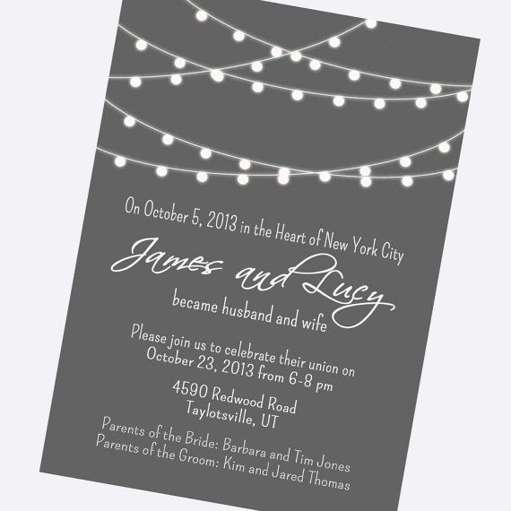 simple wedding invitation, modern, black and white, strings of lights, engagement party invite, reception only invite, digital, 24 hr proof on Etsy, $11.00