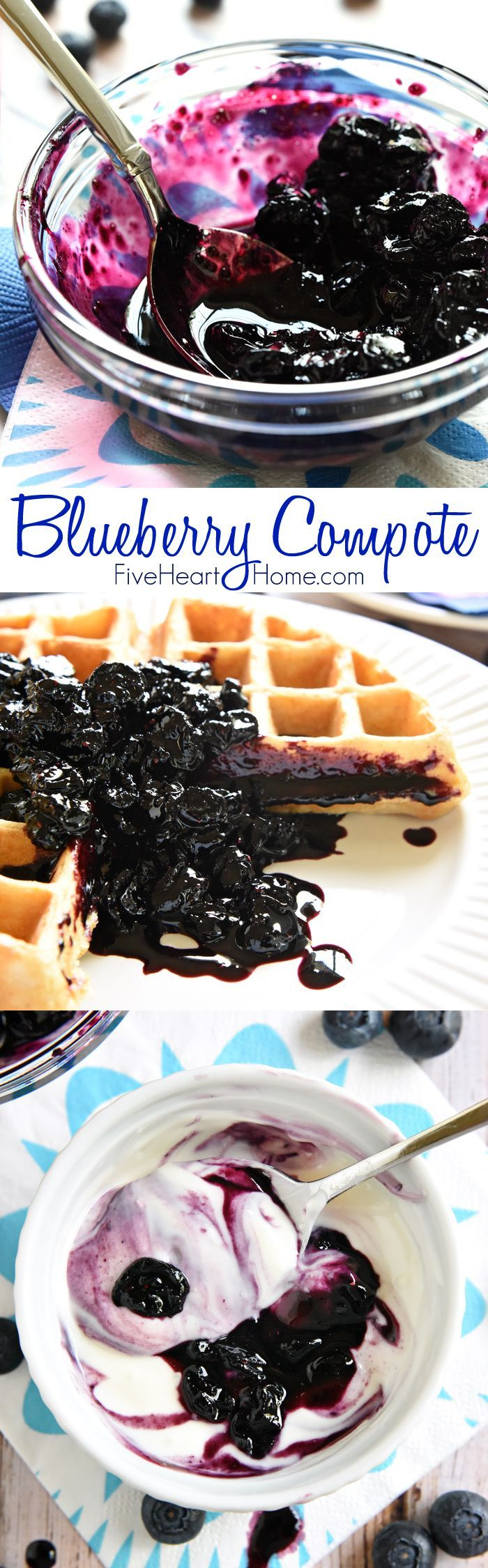 Blueberry Compote ~ frozen blueberries are cooked down into a glossy compote, sweetened with maple syrup and delicious over waffles, pancakes, pound cake, yogurt, ice cream, and so much more! | FiveHeartHome.com