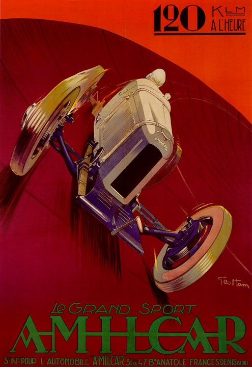 Auto Racing Poster for Amilcar Grand Sport Auto Racing by Geo Ham.