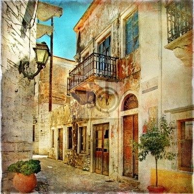 Wall mural pictorial old streets of Greece