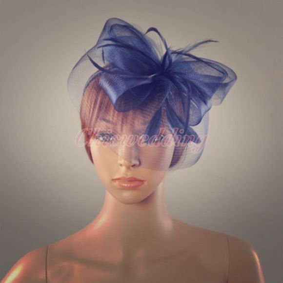 Navy fascinator Navy fascinator with feather perfect for tea party, Kentucky derby, church or wine tasting. Accessories Hats