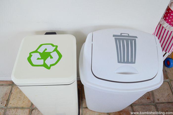 Vinyl trash or recycling labels --- BRILLIANT!!