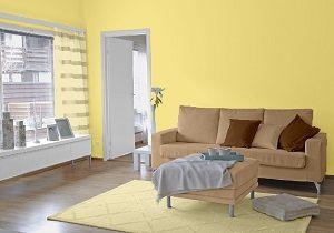 Farbgestaltung Fur Ein Wohnzimmer In Den Wandfarben Gelb Toffee Noisette
