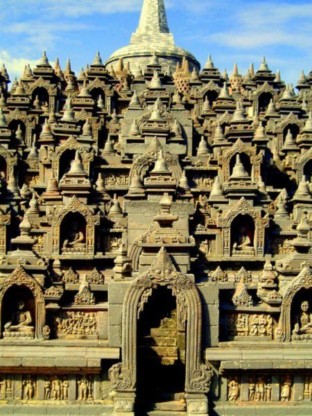Borobudur temple, 9th-century Javanese Buddhist Temple -- Yogyakarta, Central Java, Indonesia.