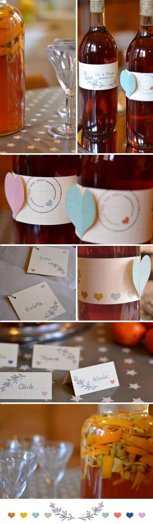 2 recettes vin de Noël (à préparer 3/4 semaine avant Noël) + étiquettes bouteilles et cadeaux