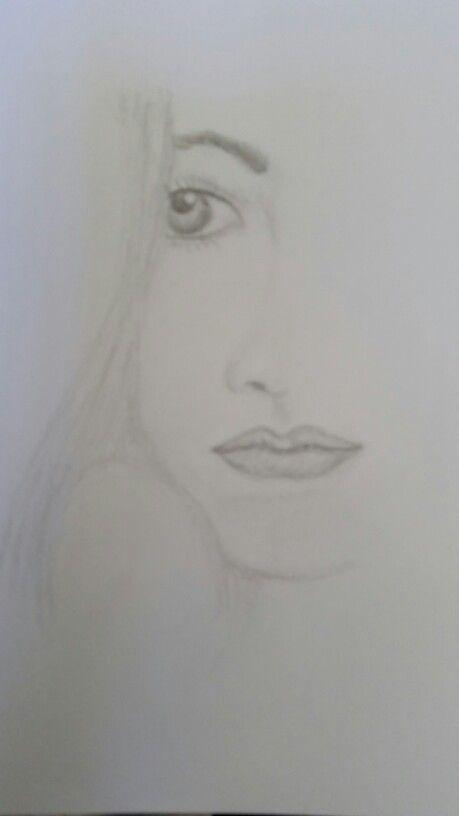 Half faced girl - in graphite