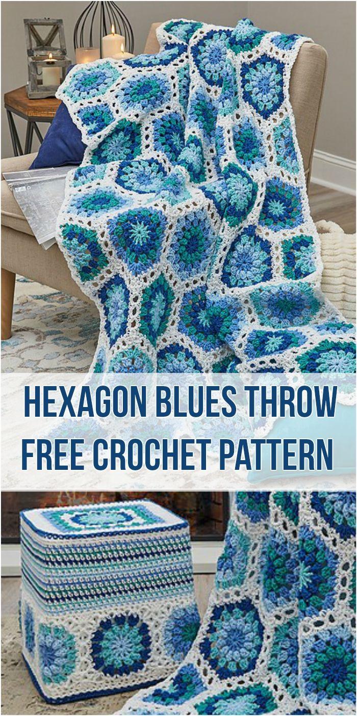 Crochet Hexagon Blues Throw Free Crochet Pattern Crochet Hexagon