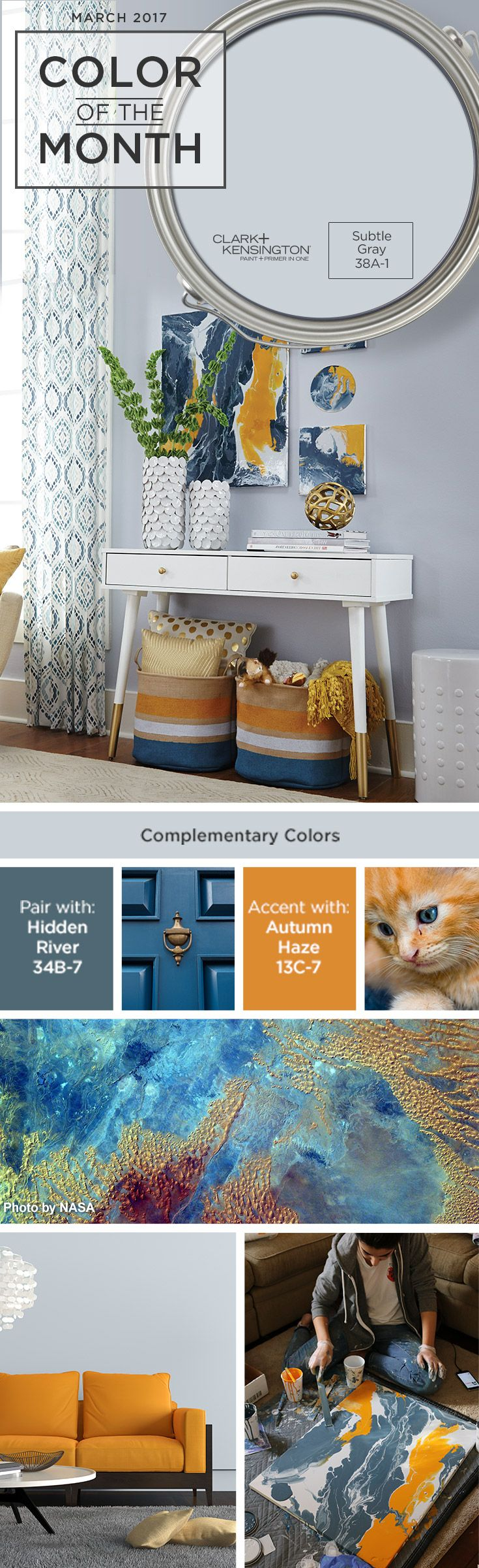Subtle Gray by Clark + Kensington is our Color of the Month. This paint color matches perfectly with any home decor.