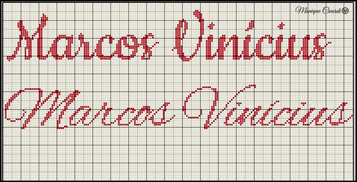 Nome em ponto cruz Marcos Vinicius