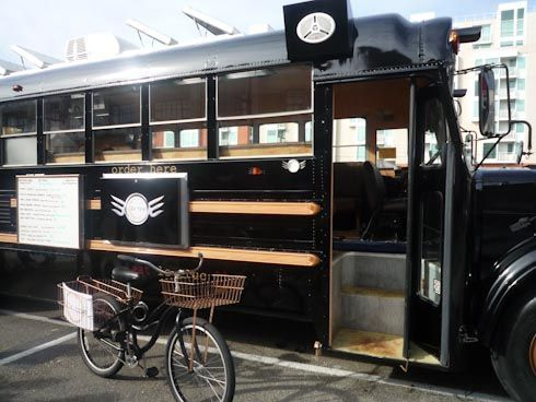 Food Inspiration  food truck. Could have fold down tables or tables that slide onto outside bars f