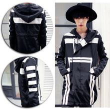 Männer GD Stil Schwarz Weiß Streifen Gothic Hoodie dünne Jacke Mantel Anzug Oberbekleidung(China (Mainland))