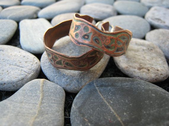 Sterling Silver and Etched Copper Hoops.  Handmade by ZaZing, $45.00