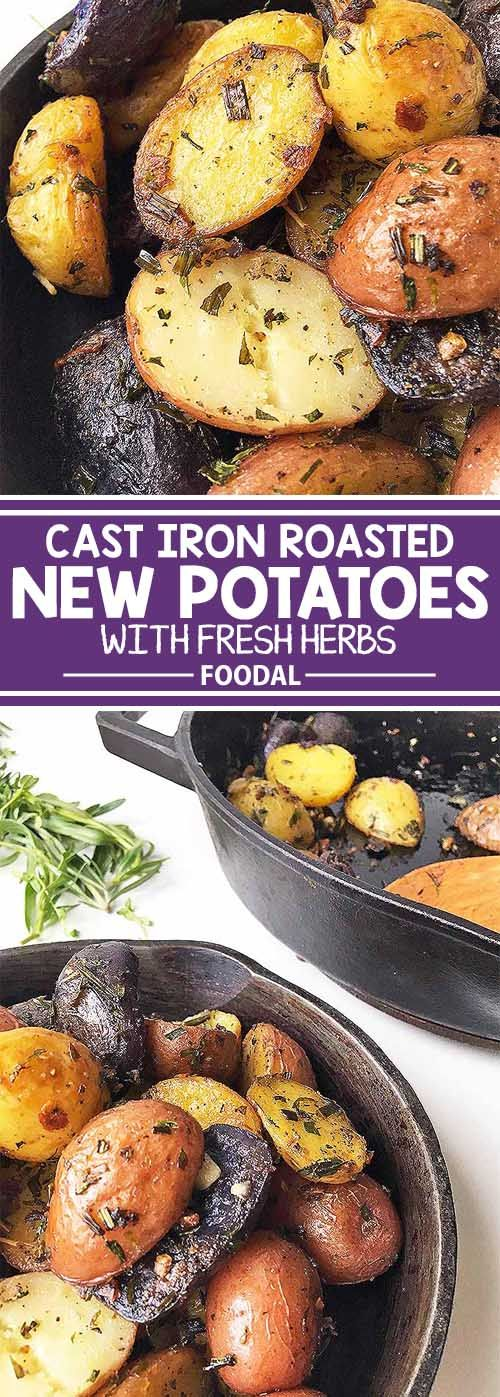 Your favorite carb gets a huge flavor makeover with our easy recipe for cast iron roasted new potatoes with assorted fresh herbs and garlic. Use your favorite herbs of the season to create your own savory flavor profile the whole family will enjoy for dinner, if it even makes it on the table! Get this addictively delicious recipe on Foodal now.