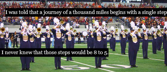 "Marching Band ""Confessions"". This breaks my heart so much. I miss marching band. :,("