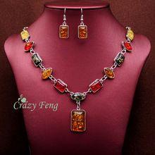Mujeres libres del envío de Retro Vintage 18 k chapado en oro ámbar joyería africana fija el collar + pendientes de la boda establece(China…
