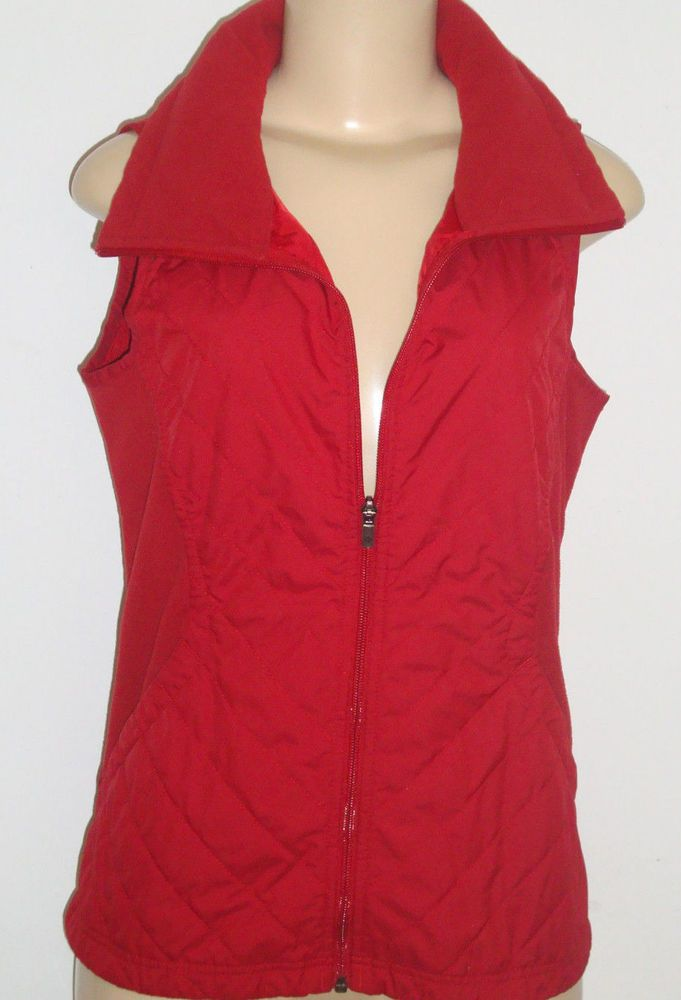 EXCELLENT Columbia Sportswear Red Vest Size SMALL Lightweight Quilted & Fleece #ColumbiaSportswear