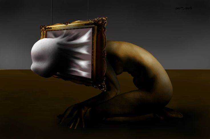A Surrrealism canvas print of when an Artist is struggling to create and come up with an idea to put on their canvas.