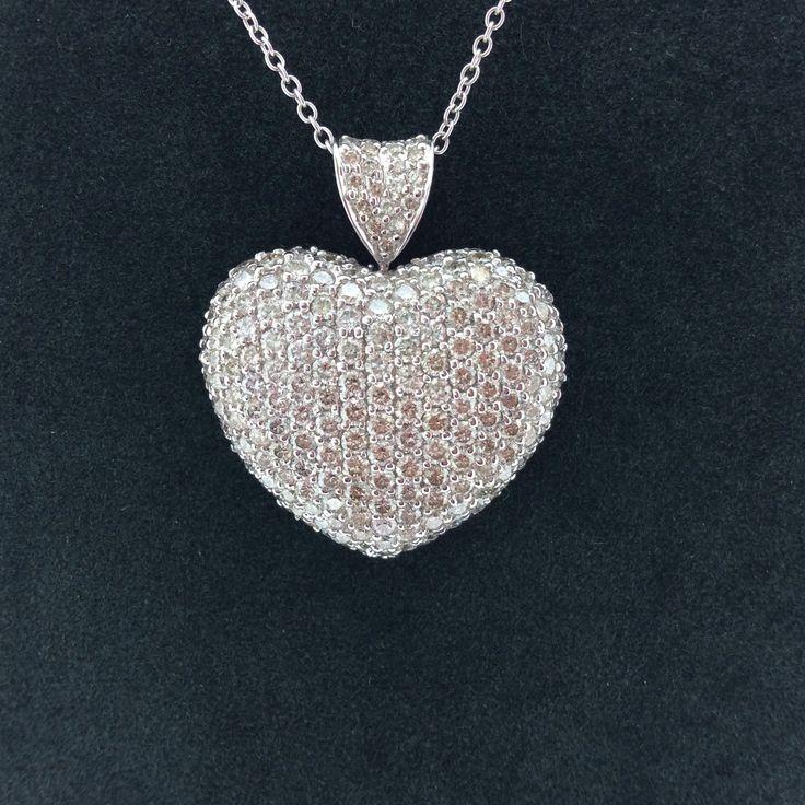 Beautiful Large Pave Diamond Heart Pendant - 18ct. White gold 3.71crt. Diamonds #Est1973