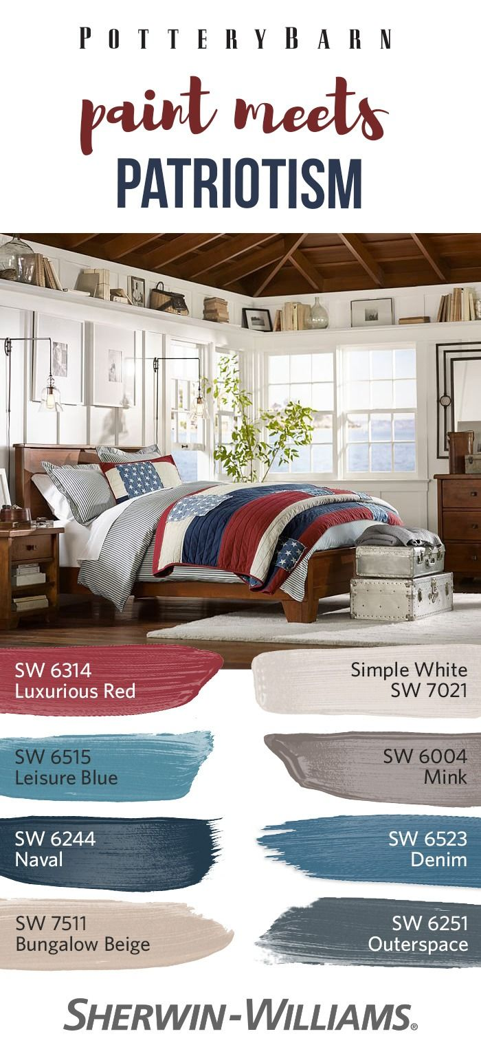 Indoors or out, add a pop of color to your Memorial Day festivities thanks to the @Pottery Barn Spring/Summer 2017 palette. Luxurious Red SW 6314, Simple White SW 7021 and Leisure Blue SW 6515 are sure to bring some patriotic flare. Or, if you're looking to complement home furnishings and decor year-round, hues like Mink SW 6044, Naval SW 6244, Denim SW 6523, Bungalow Beige SW 7511 and Outerspace SW 6251 are sure to make a bold design statement.