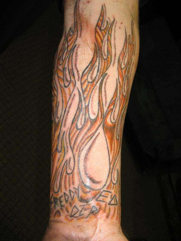 Wood grain flames tattoo 100087 fire - flame tattoo design art flash ...