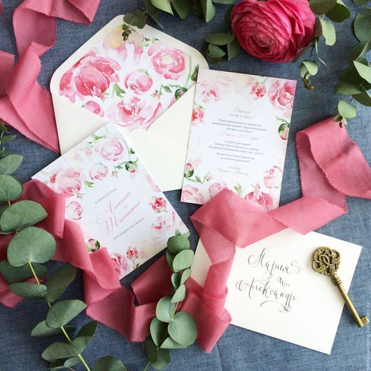 Свадебные аксессуары ручной работы. Ярмарка Мастеров - ручная работа. Купить Акварельные цветочные свадебные приглашения Розовые розы. Handmade.