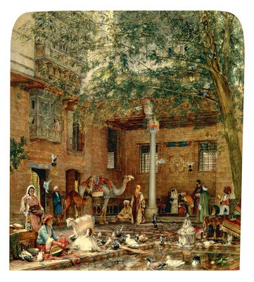 Title:  The Courtyard of the Coptic Patriarch's House in Cairo c.1864 by  John Frederick Lewis