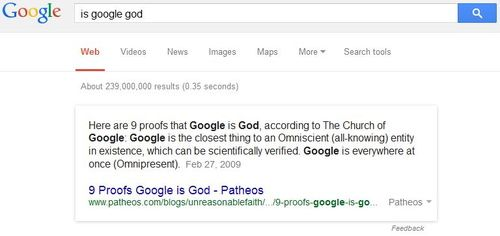 Google Bomb On Whether Google Is God