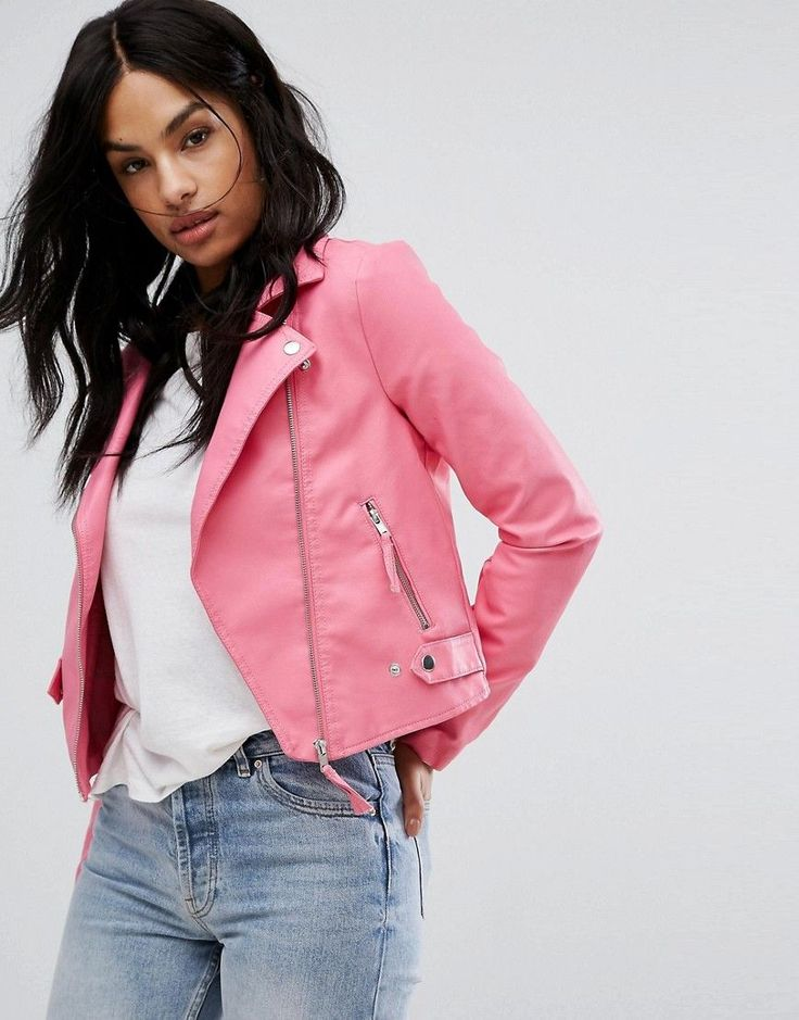 Vero Moda Leather Look Biker Jacket - Pink