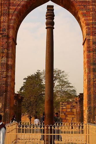 """The Iron Pillar of Delhi has incredibly withstood corrosion for the last 1600 years. The pillar has attracted the attention of archaeologists and metallurgists and has been called """"a testament to the skill of ancient Indian blacksmiths""""...  http://en.wikipedia.org/wiki/Iron_pillar_of_Delhi"""