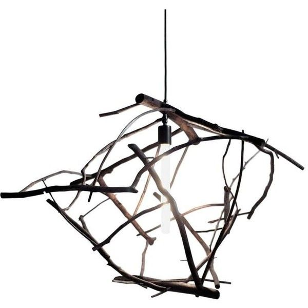Scatter/gather Pendant Light In Found Ocean-washed Branches featuring polyvore, home, lighting, ceiling lights, brown, chandeliers, tree branch chandelier lighting, branch pendant light, fluorescent lamp, tree branch light and brown lamps